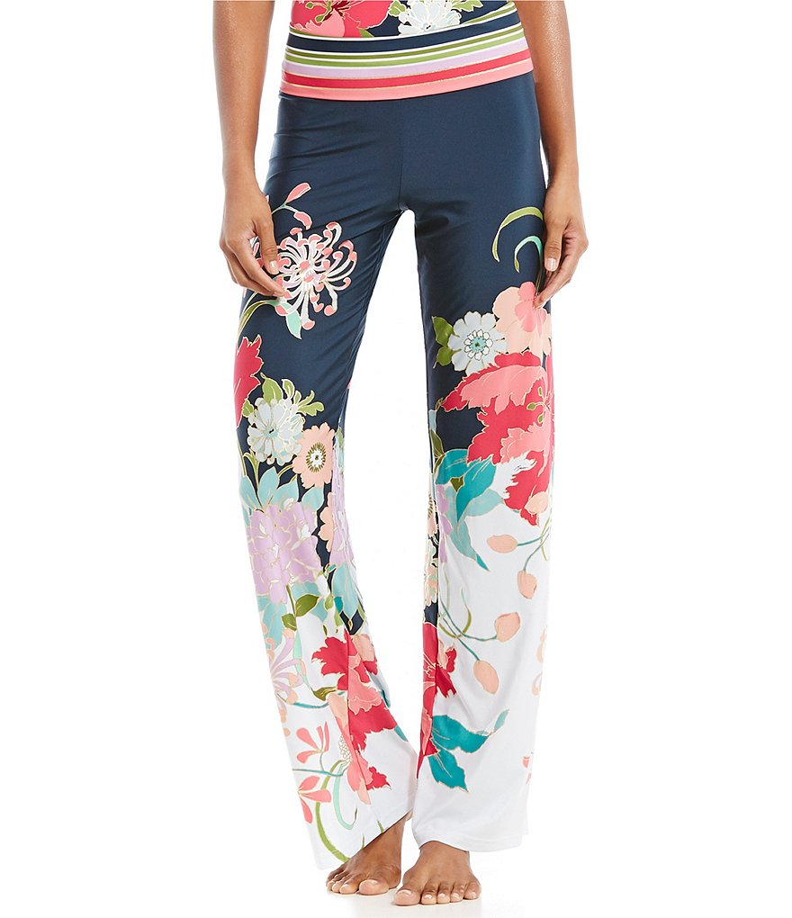 Trina Turk Royal Botanical Roll Top Pant Cover-Up