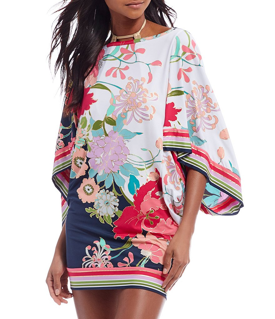 Trina Turk Royal Botanical Caftan Tunic Swimsuit Cover-Up