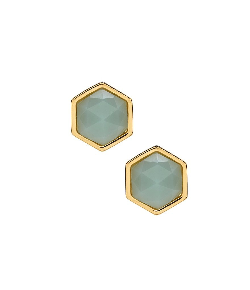 Trina Turk Stone Hexagon Stud Earrings