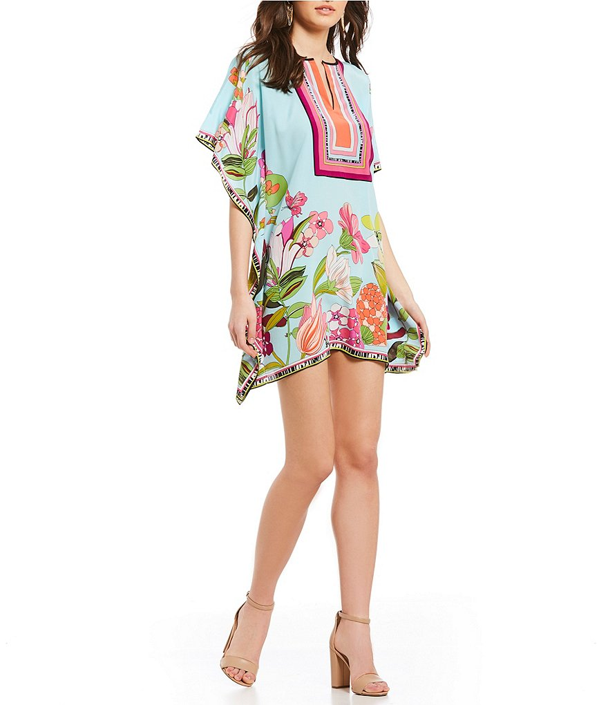 Trina Turk Theodora Secret Garden Floral Print Caftan Dress