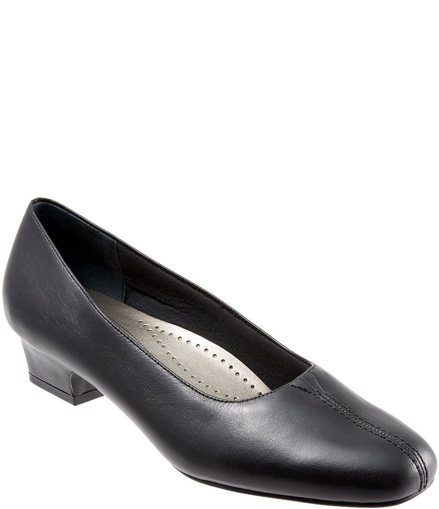 Trotters Doris Leather Block Heel Pumps