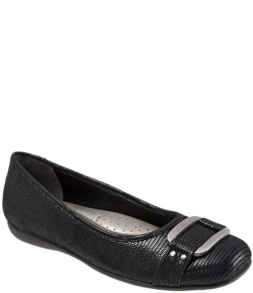 Trotters Sizzle Patent Suede Lizard Printed Leather Ballet Flats