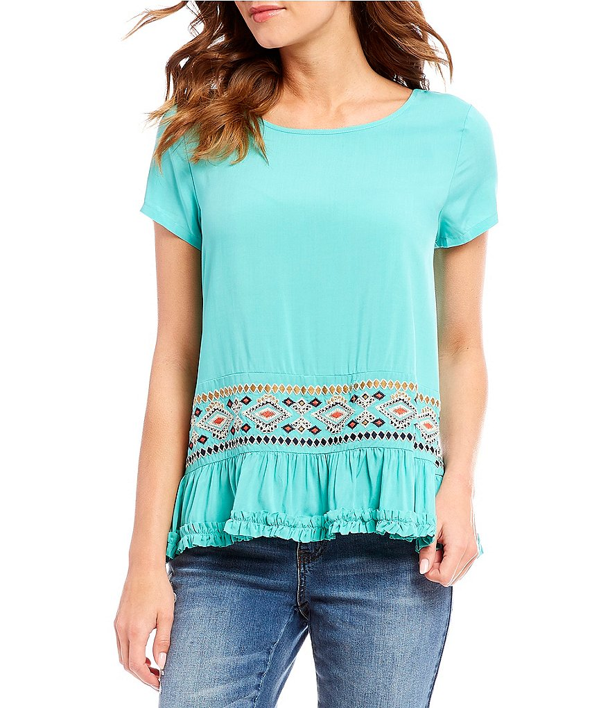 Tru Luxe Jeans Border Embroidered Flounce Top