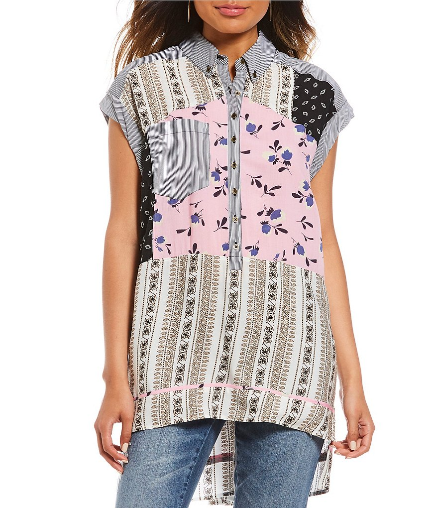Tru Luxe Jeans Mixed Pattern Tunic