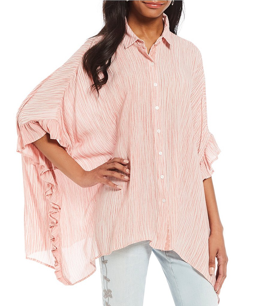 Tru Luxe Jeans Ruffle Button Front Poncho Top