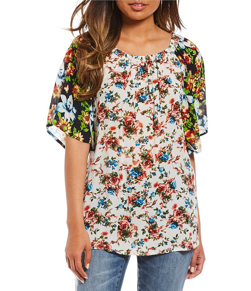 Tru Luxe Jeans Woven Mixed Floral Print Peasant Top