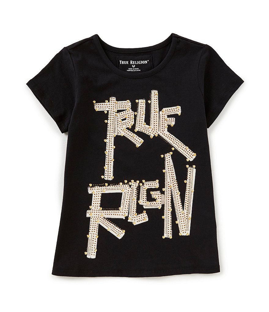 True Religion Big Girls 7-16 Studded Short Sleeve Tee