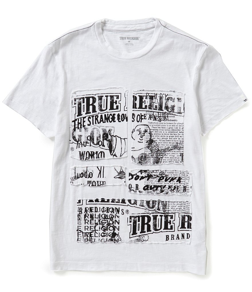 True Religion Cut Up Buddha Tape Graphic Short-Sleeve Tee