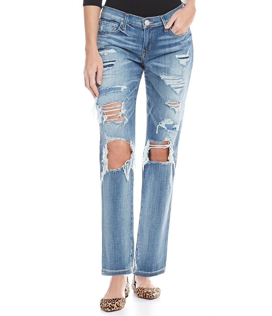 True Religion Destructed Mid Rise Straight Jeans