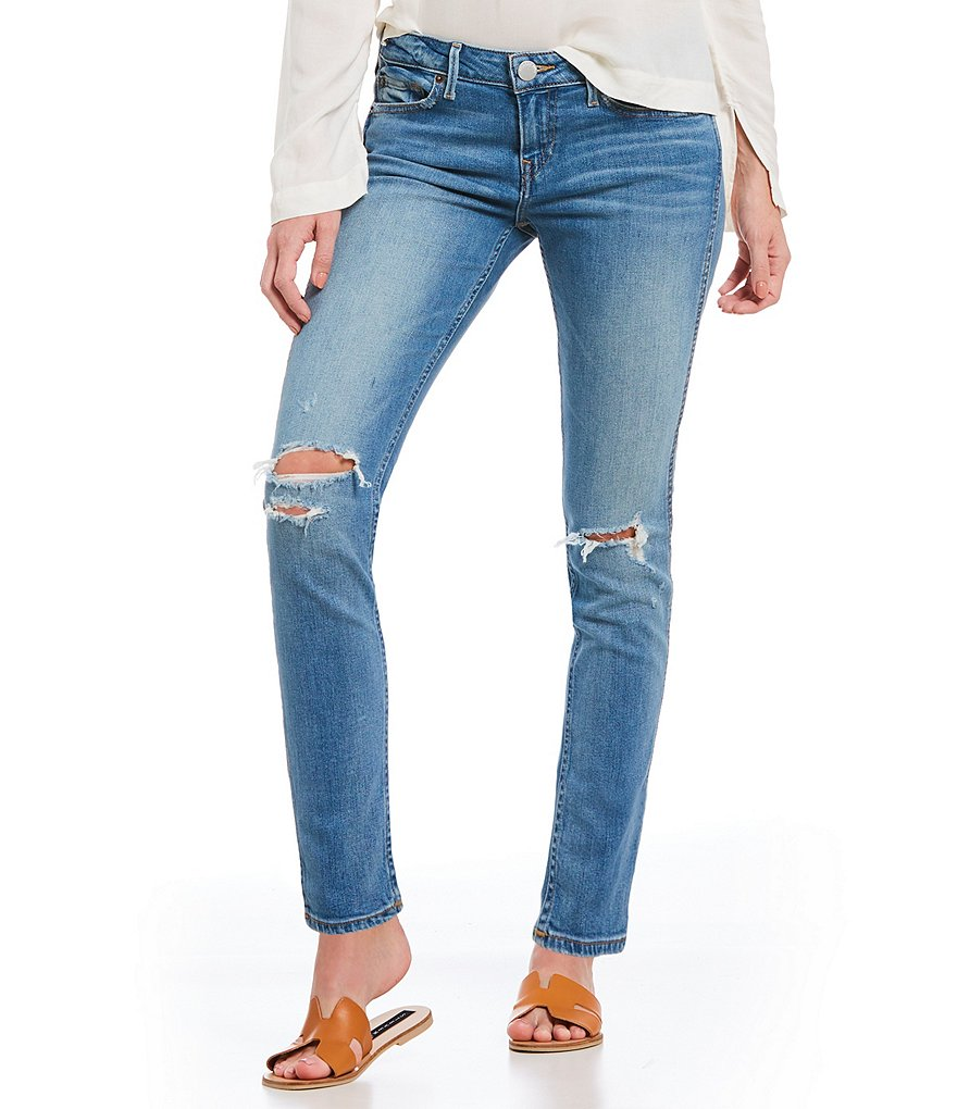 True Religion Halle Mid Rise Destructed Skinny Jeans