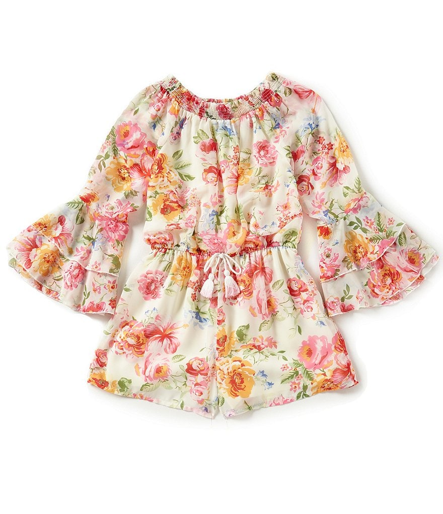 Truly Me Big Girls 7-16 Off the Shoulder Floral-Print Romper