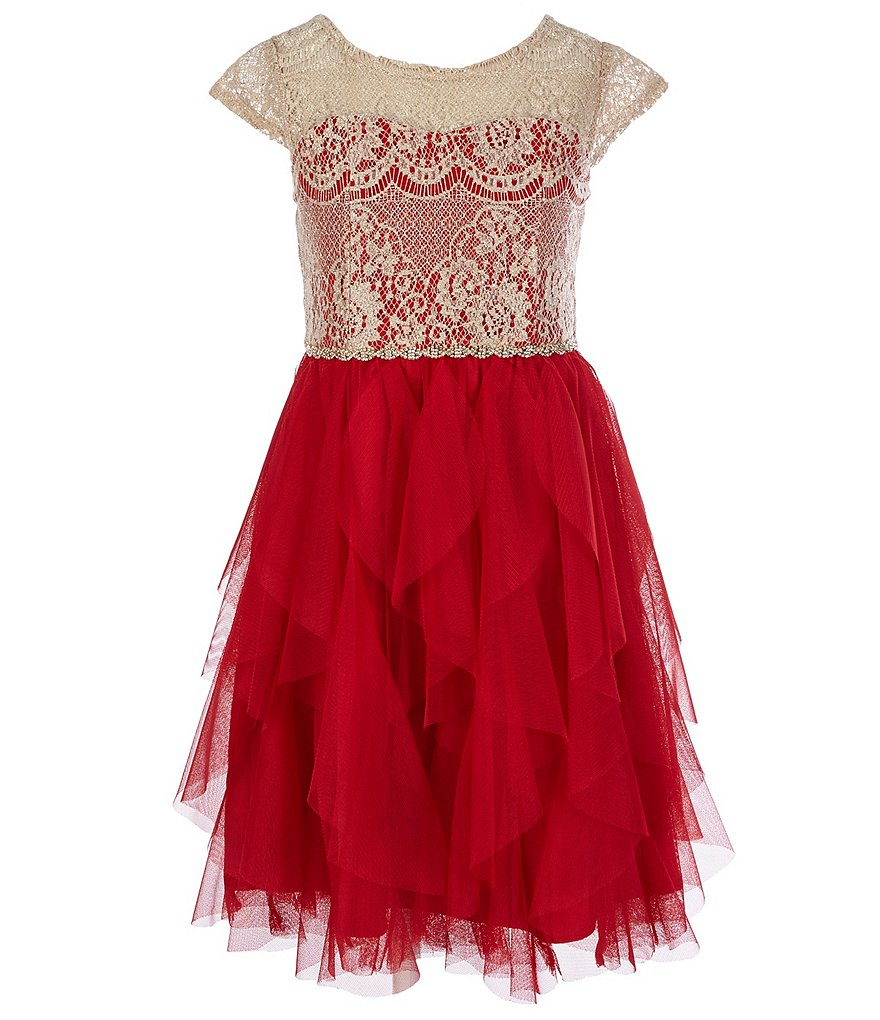 Tween Diva Big Girls 7-16 Lace/Sheer Cascading Fit-And-Flare Dress