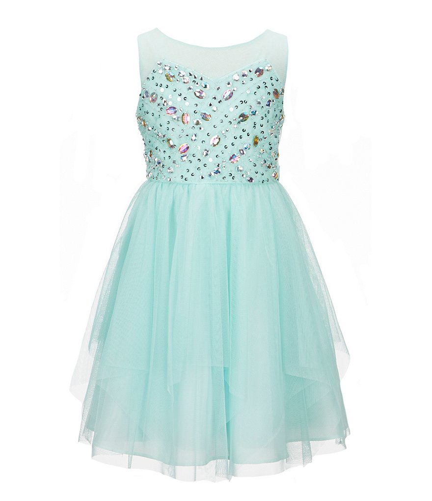 Tween Diva Little Girls 4-6X Beaded Mesh Fit-and-Flare Dress