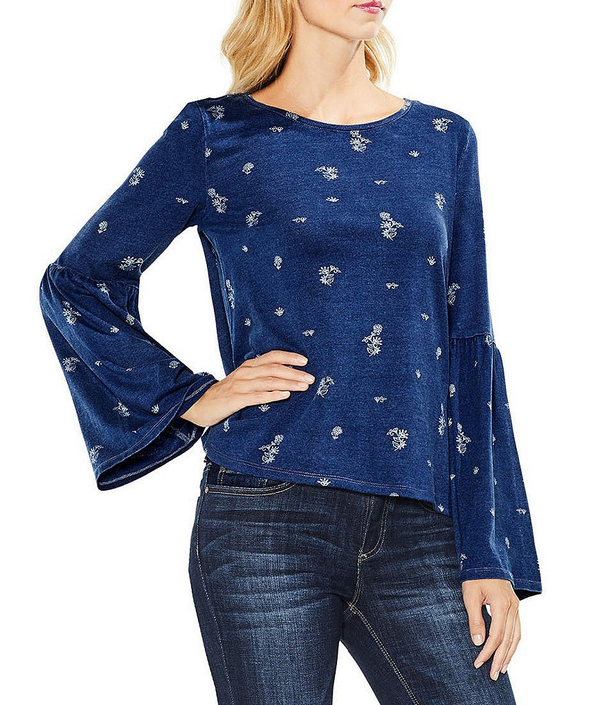 Two By Vince Camuto Bell Sleeve Delicate Ditsy Top
