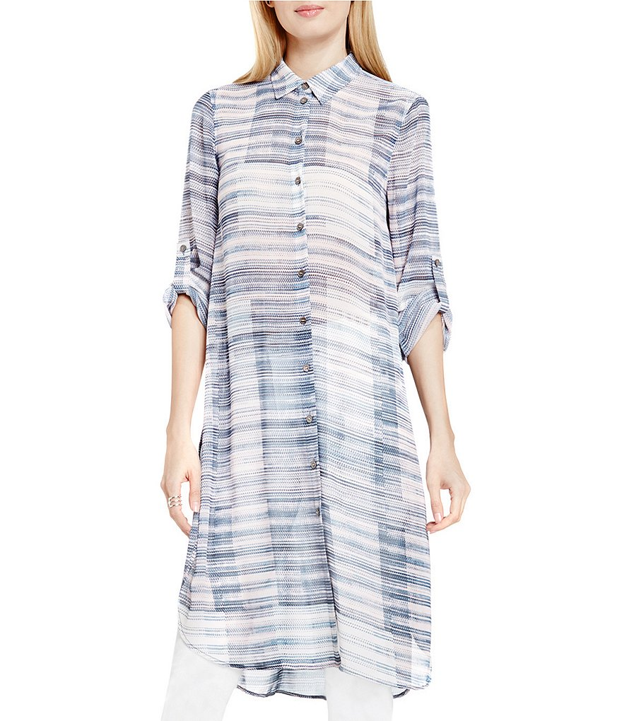 Two by Vince Camuto Breezy Textures Collared Long Tunic