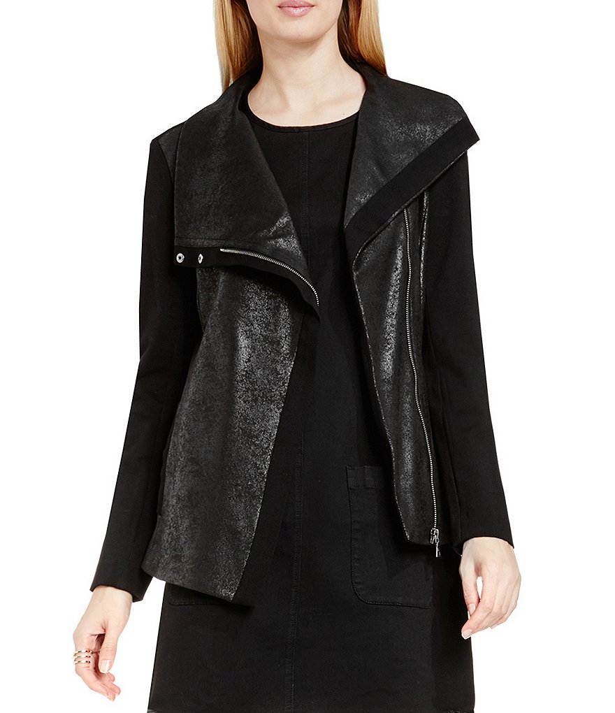 Two By Vince Camuto Crackle Ponte Asymmetrical Zip Moto Jacket