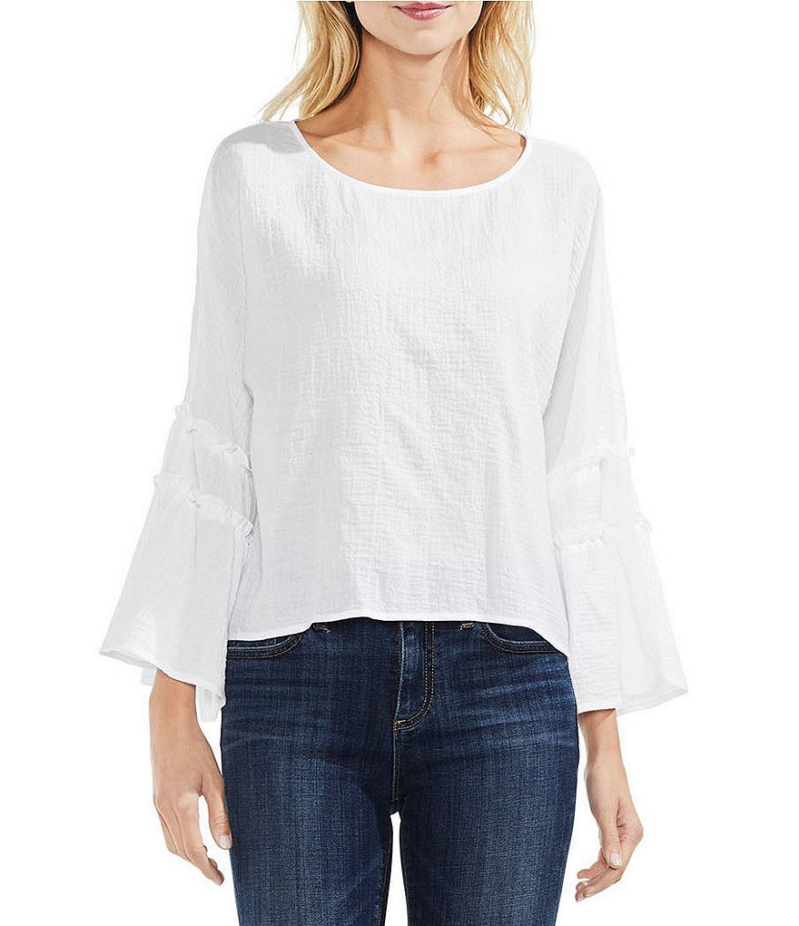 Two by Vince Camuto Crinkle Cotton Pleated Sleeve Blouse