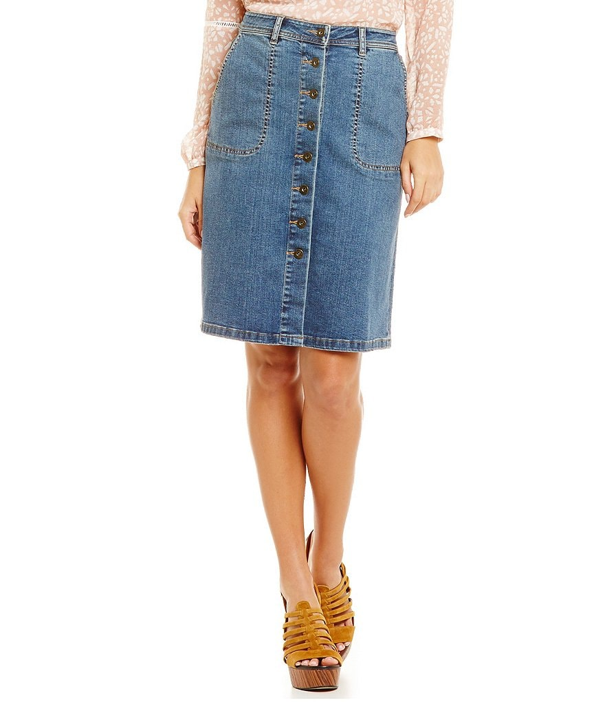 Two By Vince Camuto Denim Button Down Skirt