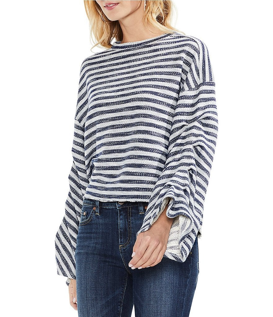 Two by Vince Camuto Foldover Bell Rustic Loop Stripe Top