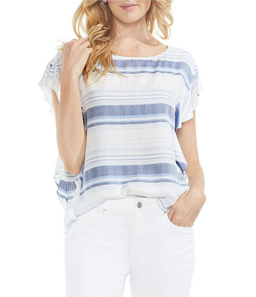 Two by Vince Camuto Herringbone Stripe Ruffle Sleeve Blouse
