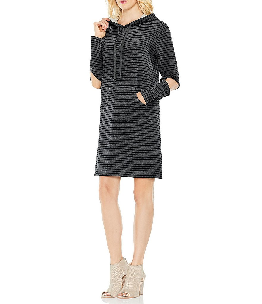 Two by Vince Camuto Long Sleeve Cold Elbow Hoodie Dress