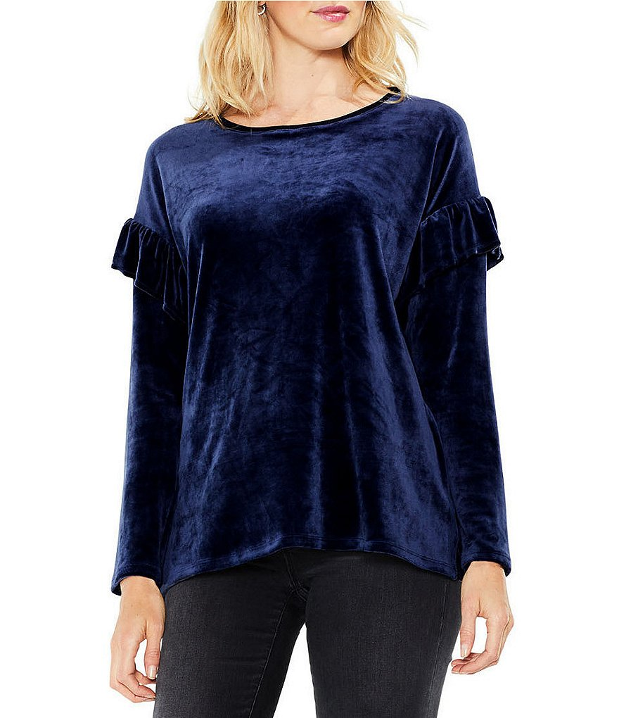Two by Vince Camuto Long Sleeve Ruffle Shoulder Velour Top