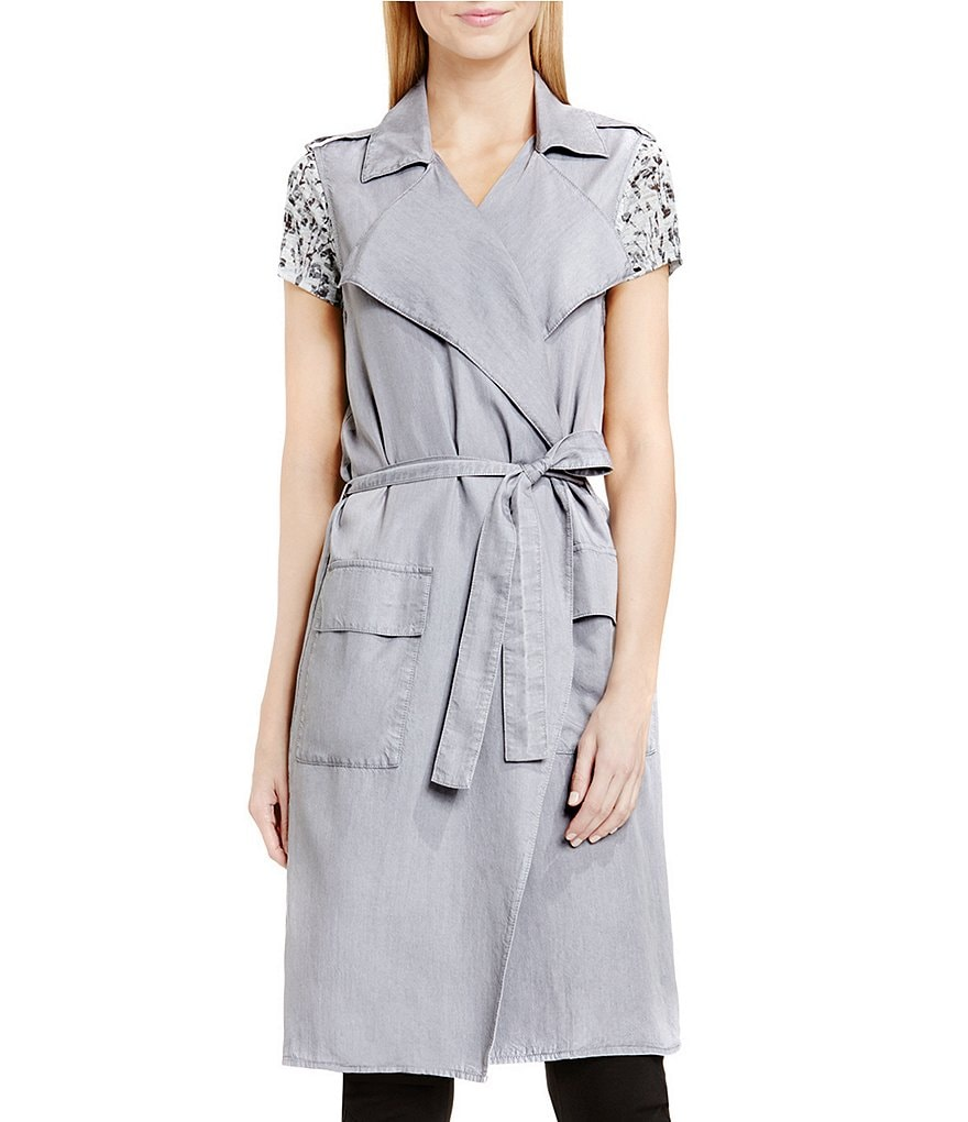 Two by Vince Camuto Long Tencel Belted Vest