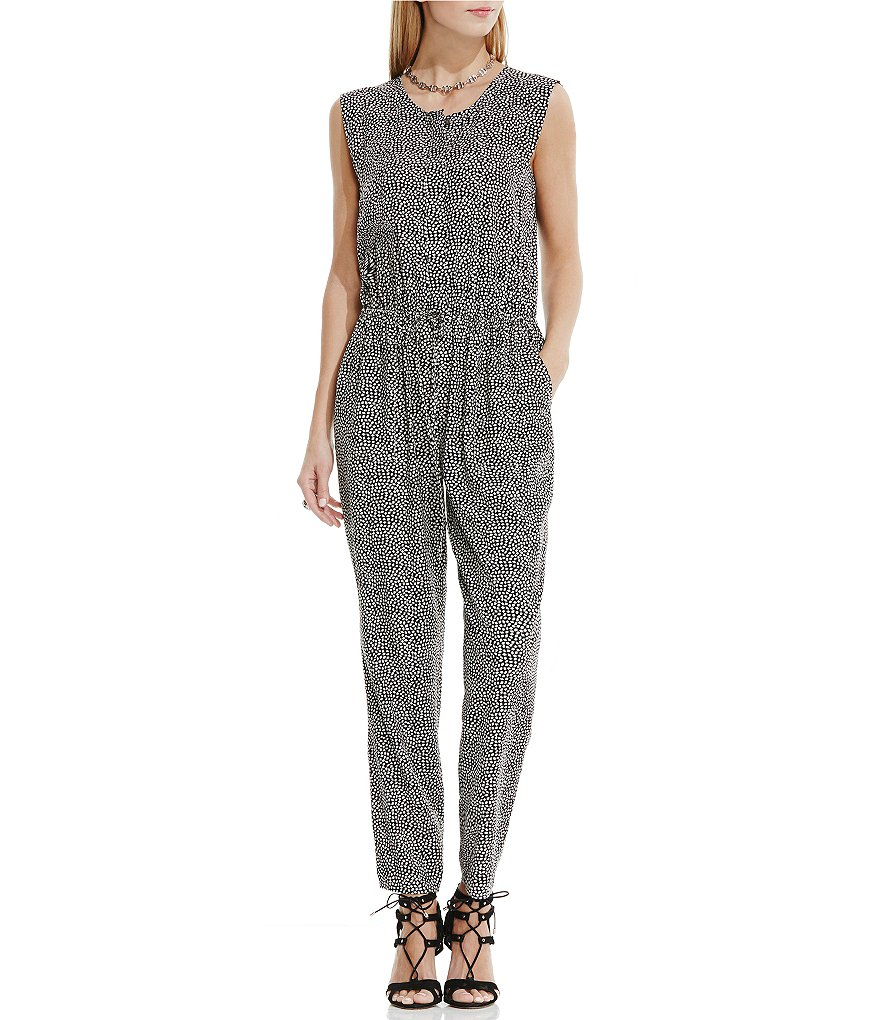 Two by Vince Camuto Orb Ditsy Sleeveless Ruffle Jumpsuit