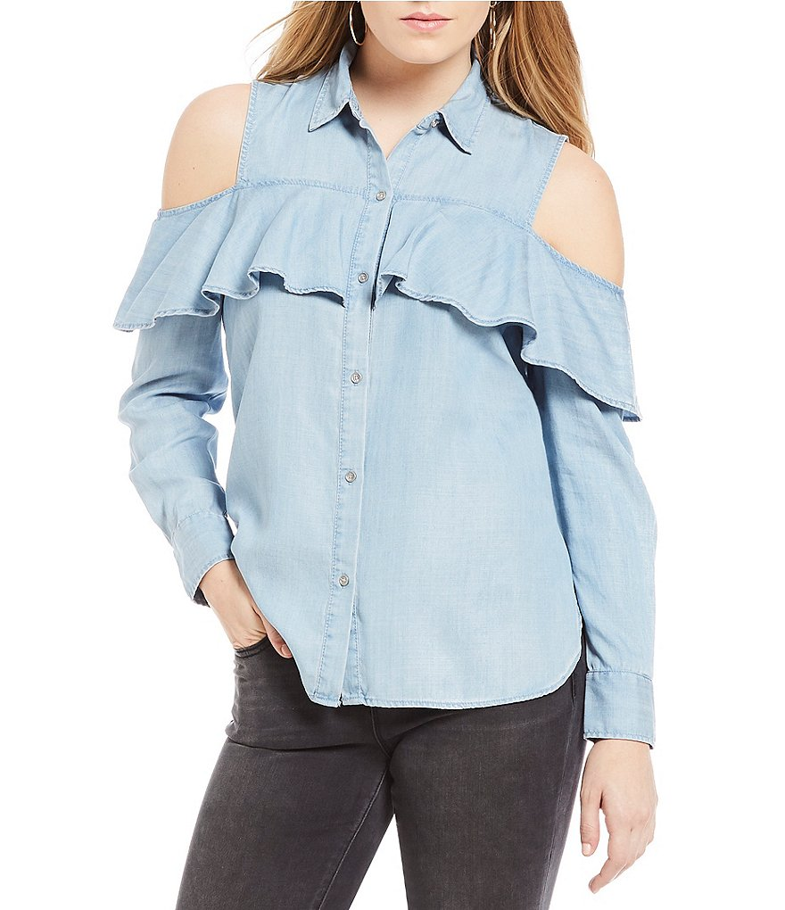 Two By Vince Camuto Ruffle Front Cold Shoulder Top