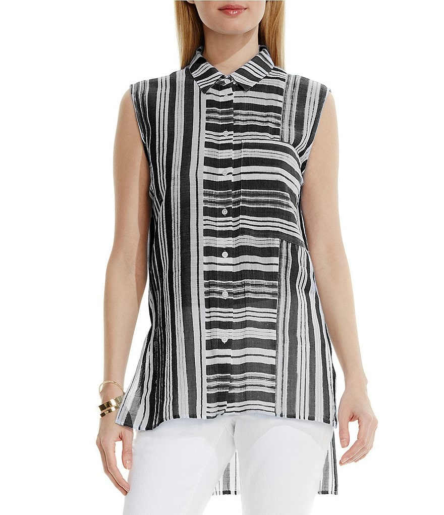 Two by Vince Camuto Sheer Stripe Utility Shirt