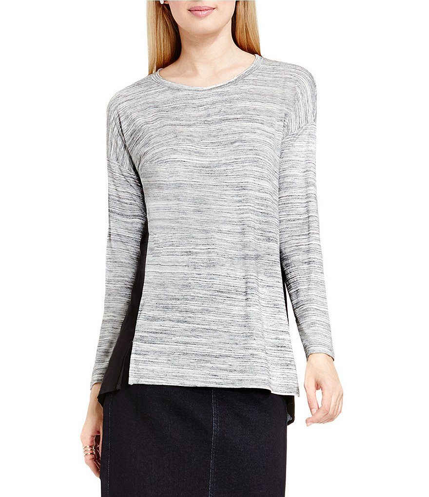 Two By Vince Camuto Space Dye Mix Media Top