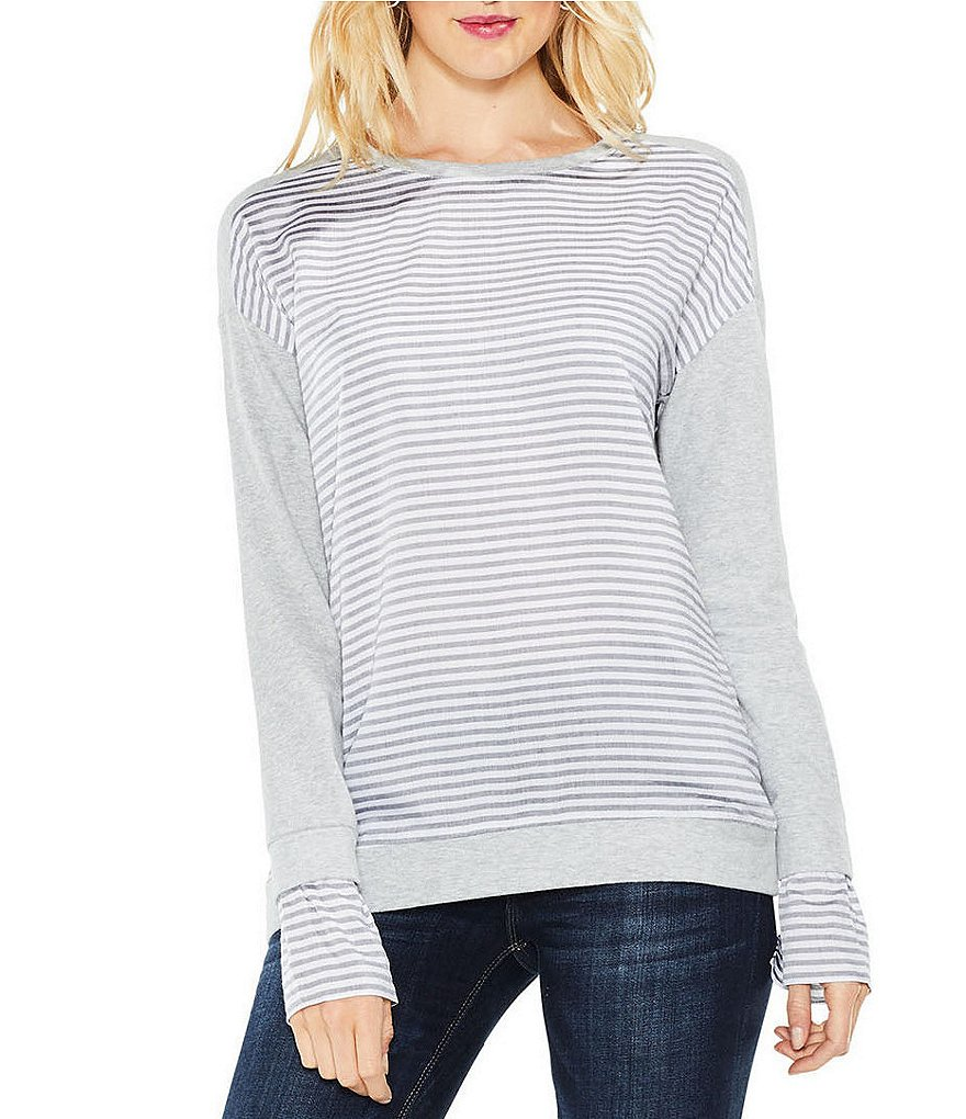 Two By Vince Camuto Striped French Terry Sweatshirt