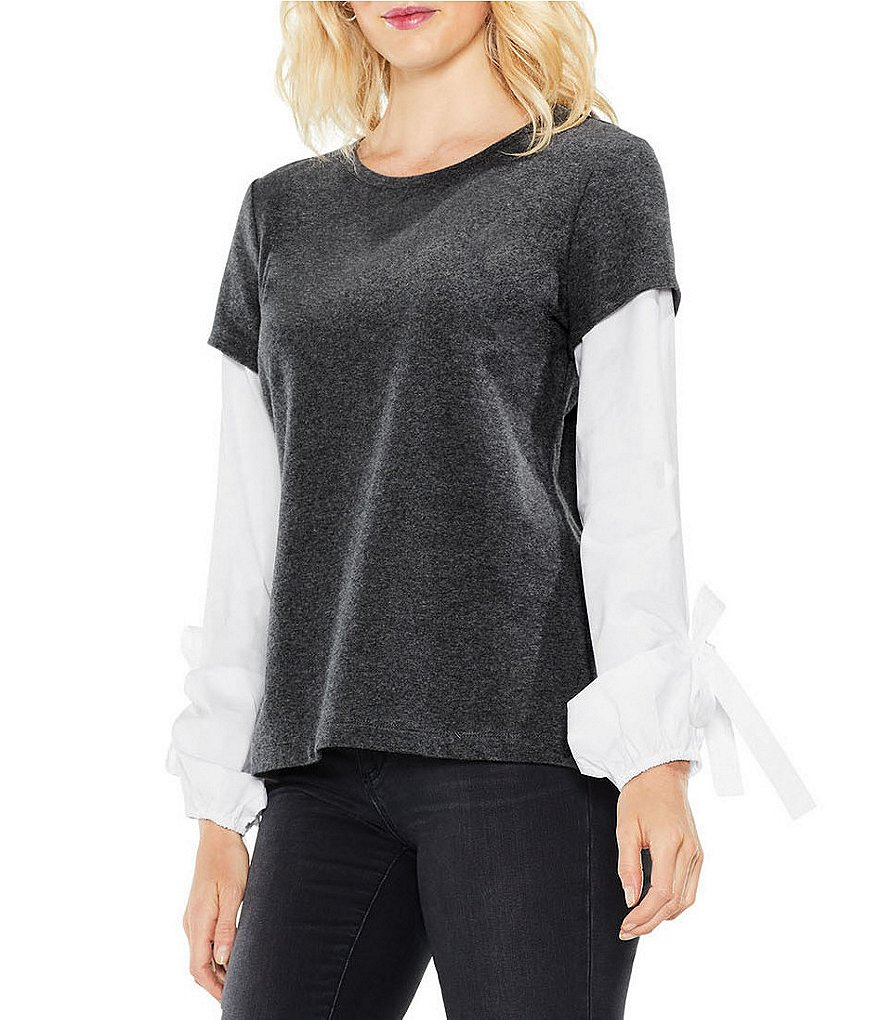 Two by Vince Camuto Two-Fer Bubble Tie Sleeve Top