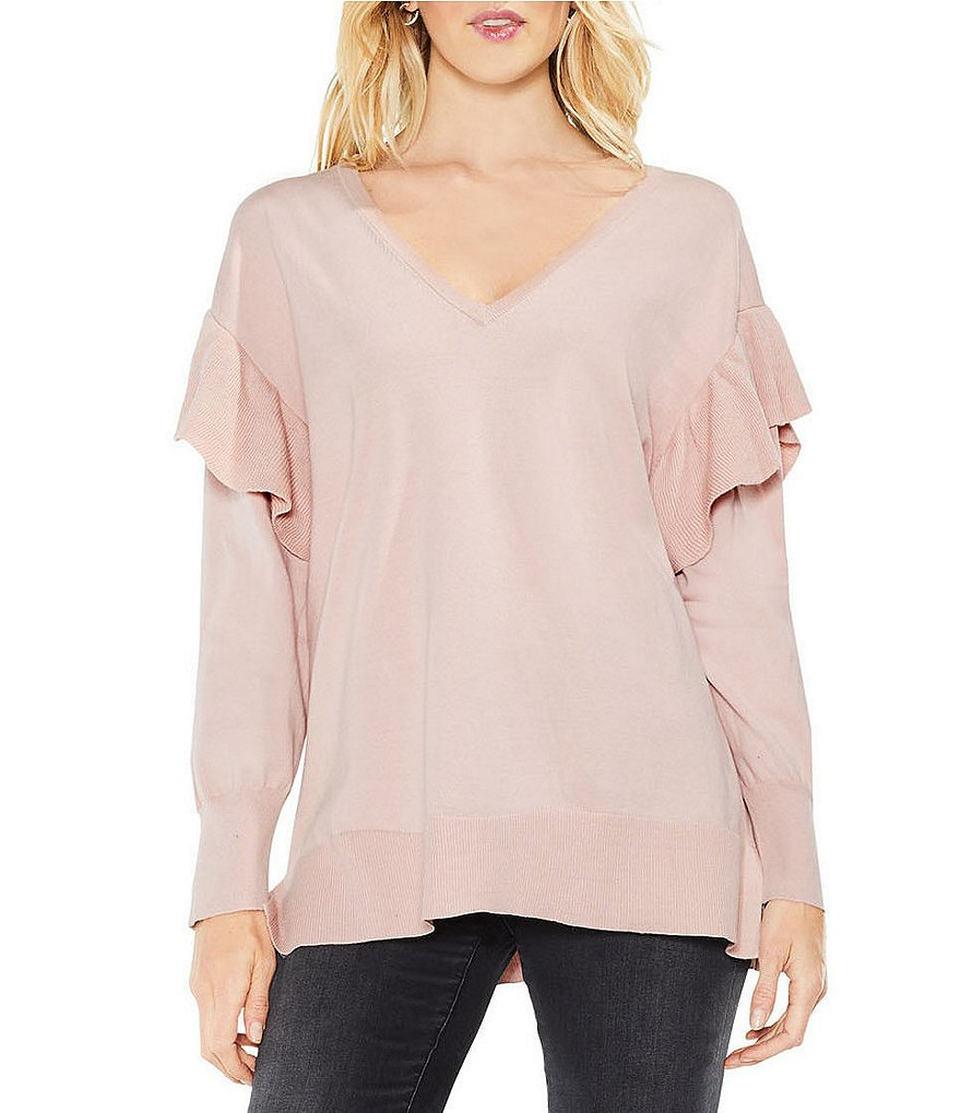 Two by Vince Camuto V-Neck Ruffle Shoulder Sweater