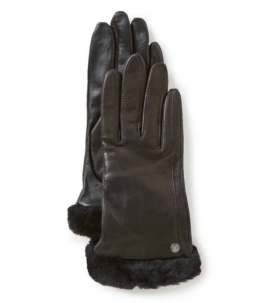 UGG® Classic Shearling-Cuff Leather Tech Gloves