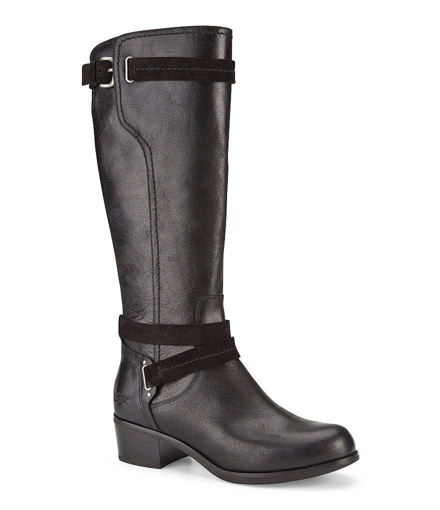 UGG® Darcie Antique Hardware Detailed Strapped Leather Riding Boots