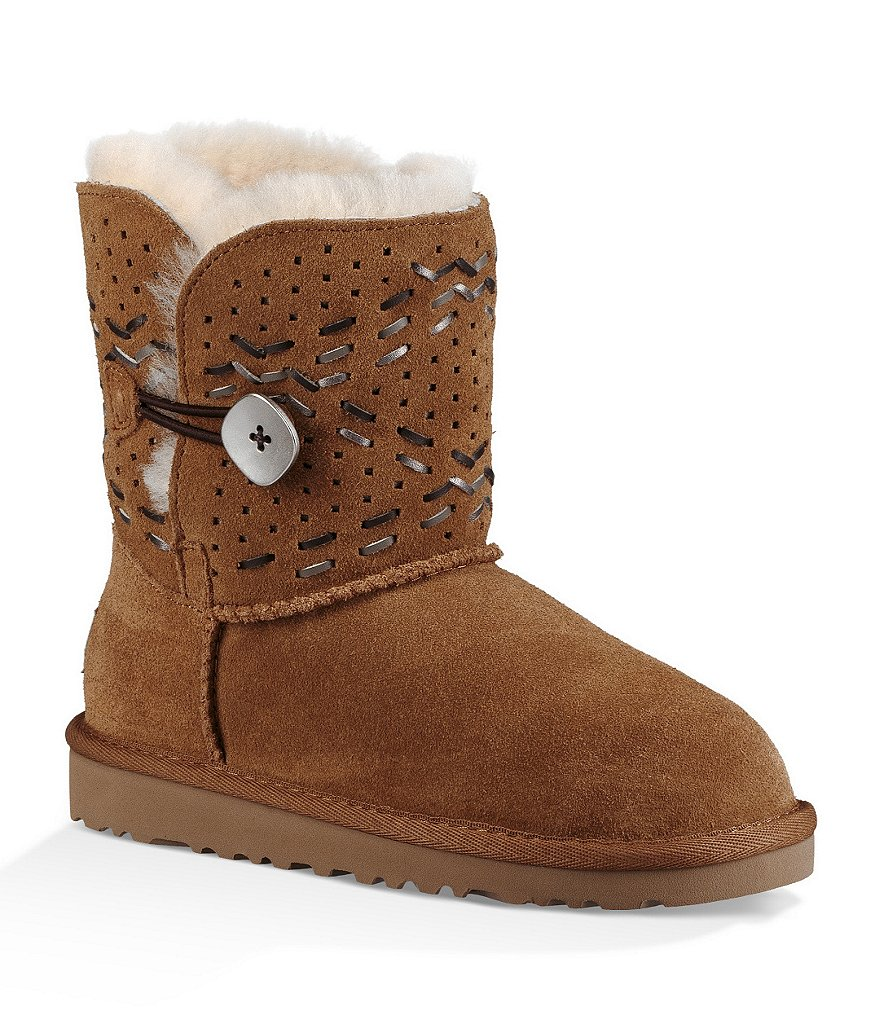 UGG® Girls' Bailey Button II Tehuano Leather Topstitching Slip-On Boot