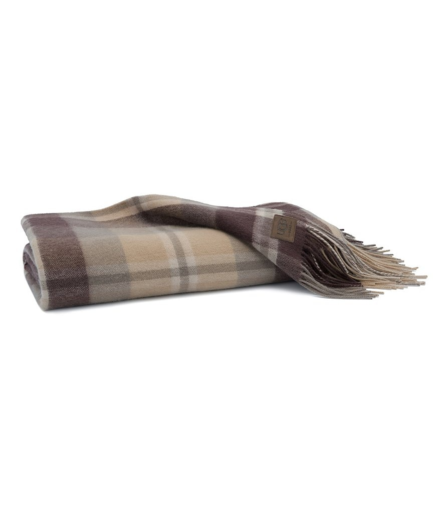 UGG® Glacier Fringed Plaid Wool Throw Blanket