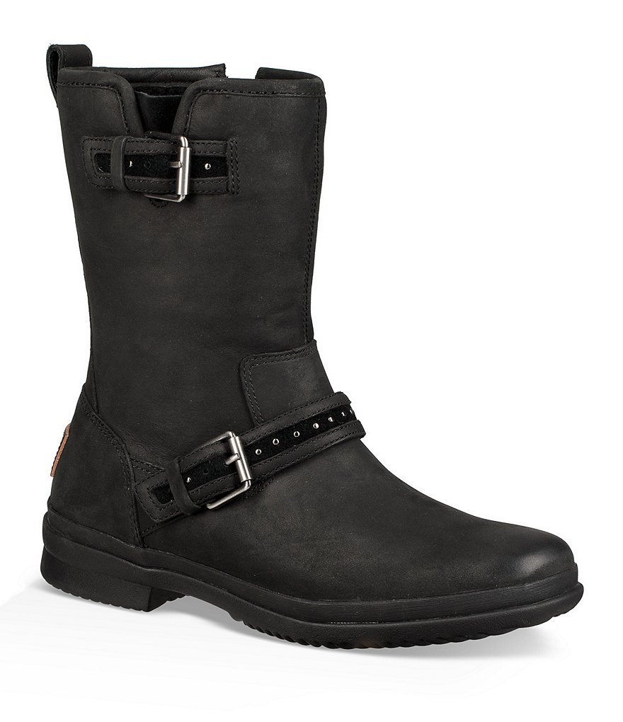 UGG® Jenise Waterproof Cold Weather Buckle Strap Block Heel Boots