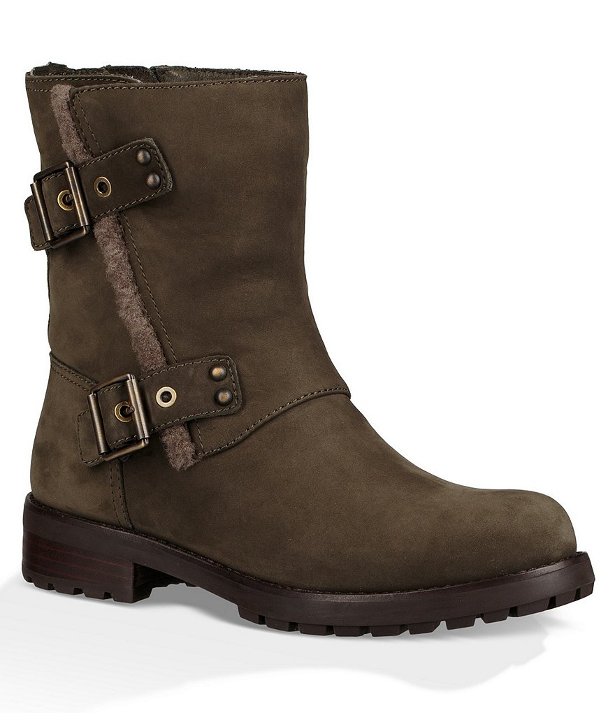 UGG® Niels Moto Water Resistant Leather Buckle Strap Block Heel Boots