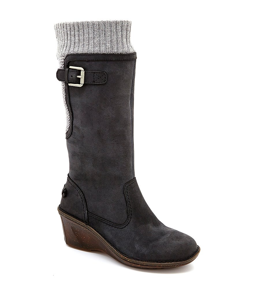 UGG® Skyfall Knit Buckle Detail Wedge Sweater Boots