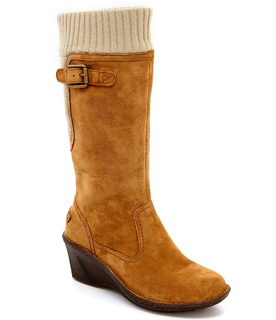 UGG® Skyfall Sweater-Cuff Suede Cold Weather Wedge Boots