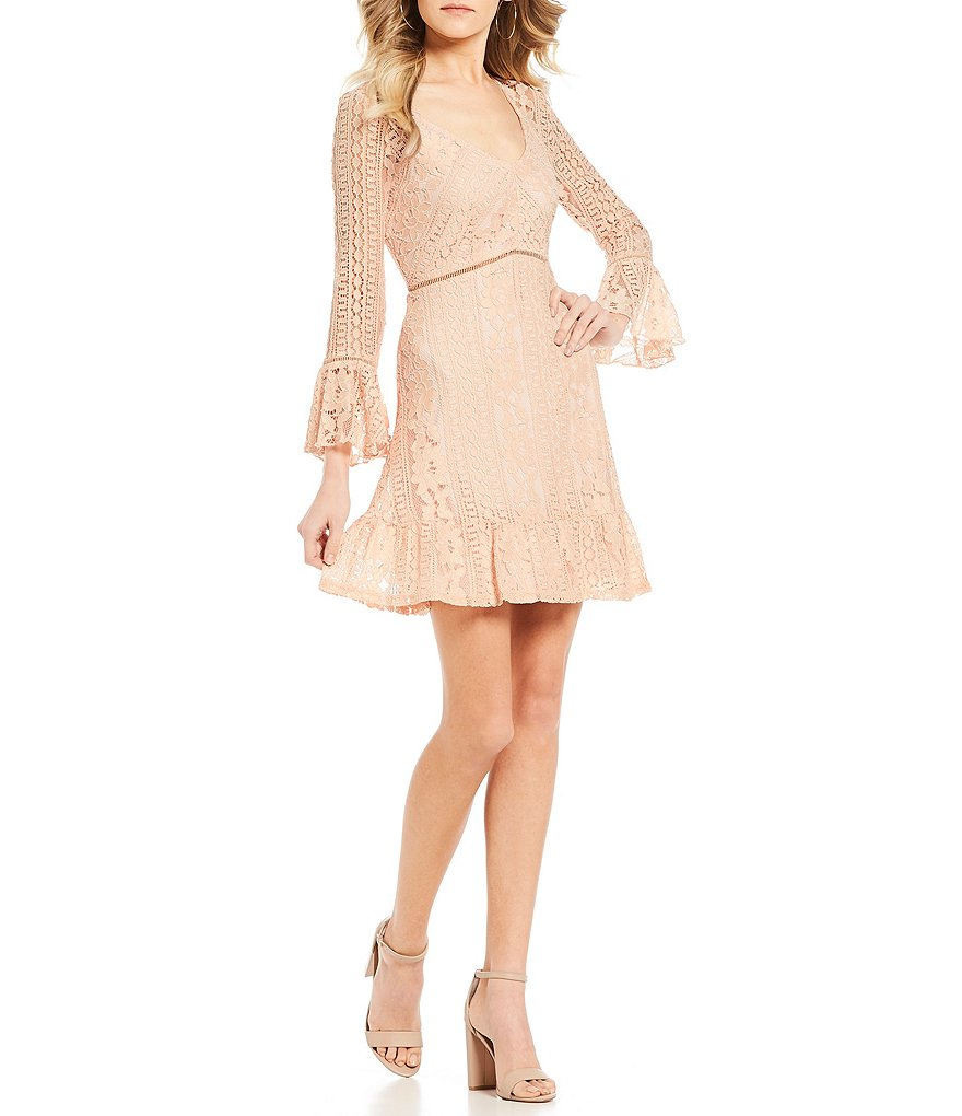 Ultra Pink Bell-Sleeve Lace Dress