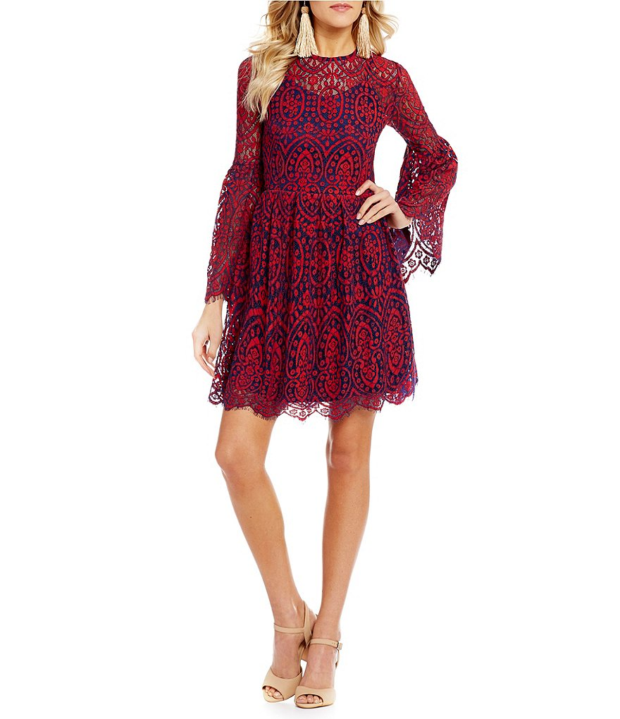 Ultra Pink Bell Sleeve Two-Tone Lace Dress