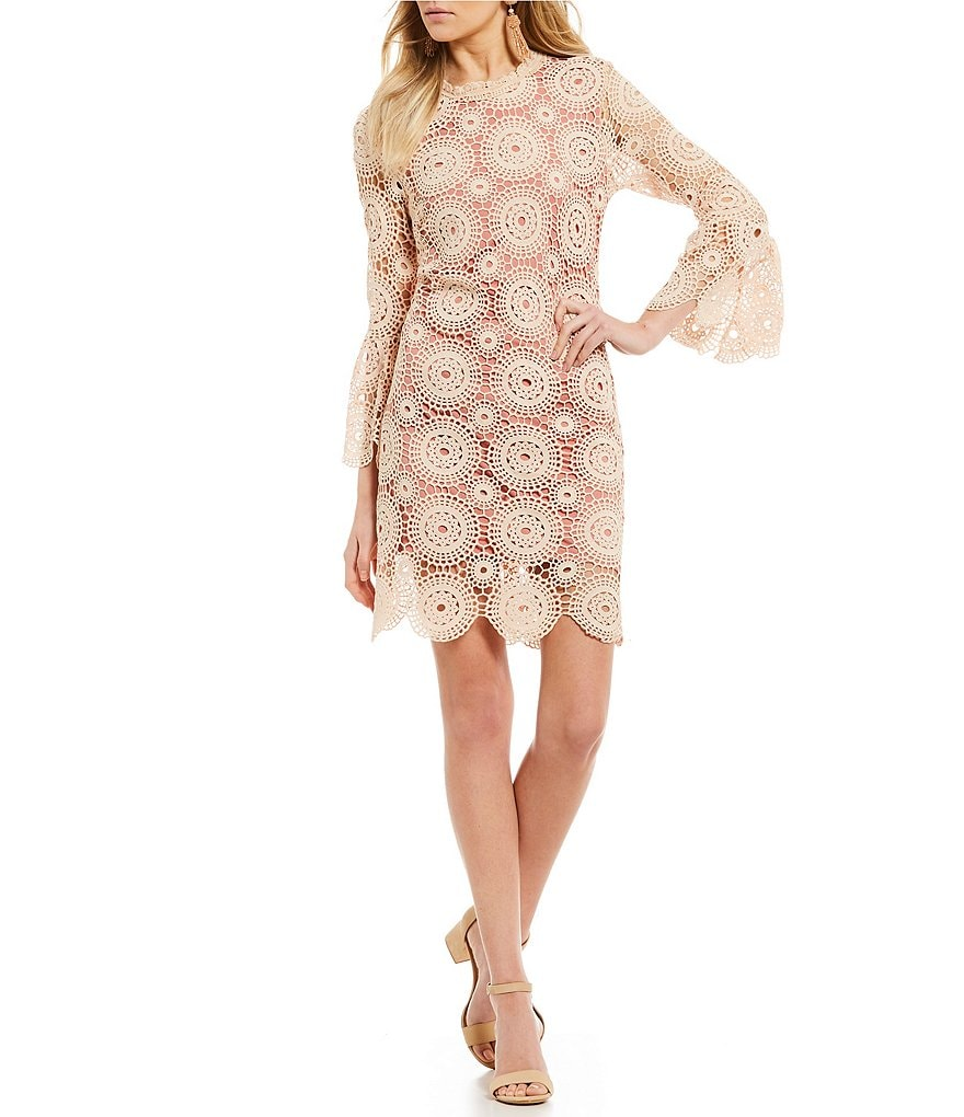 Ultra Pink Circle Pattern Lace Shift Dress