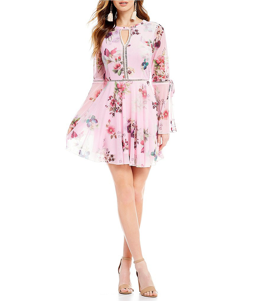 Ultra Pink Floral-Printed Mesh Fit-And-Flare Dress