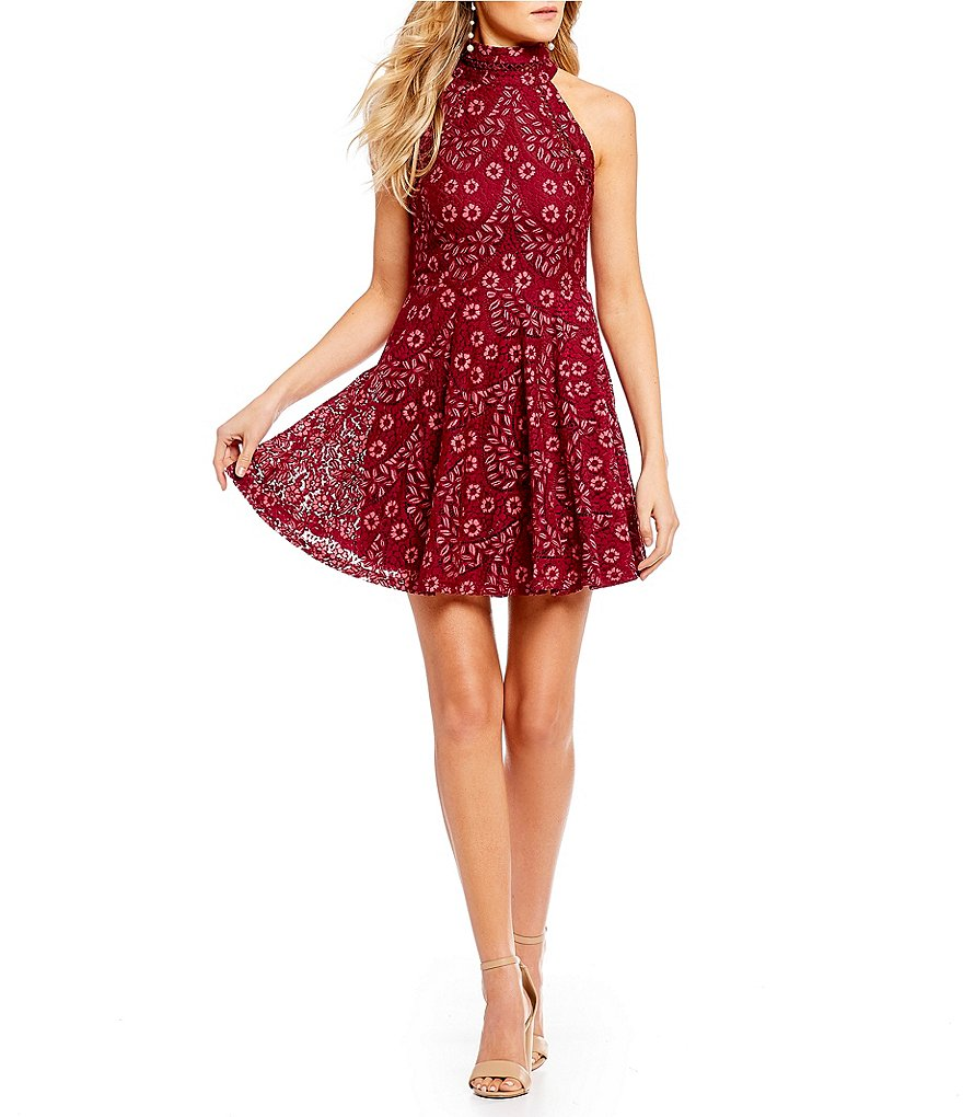 Ultra Pink Mock Neck Lace Fit-and-Flare Dress