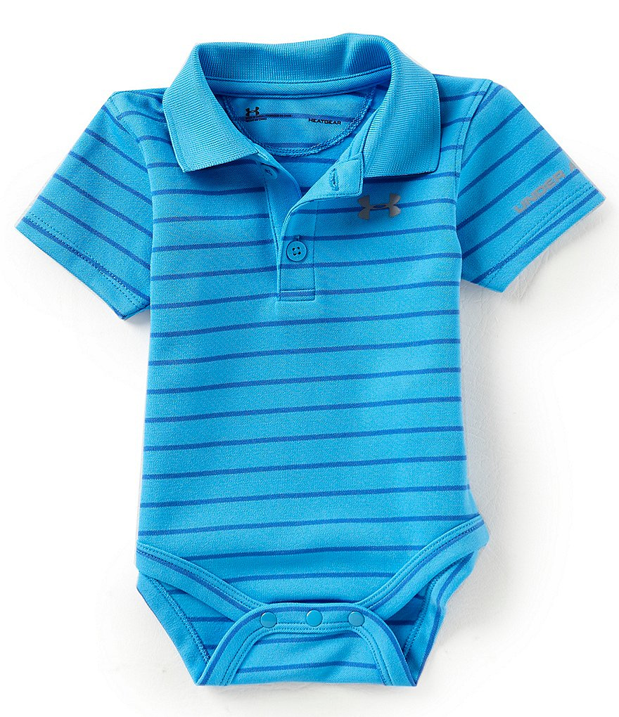 Under Armour Baby Boys Newborn-12 Months Short-Sleeve Striped Polo Bodysuit