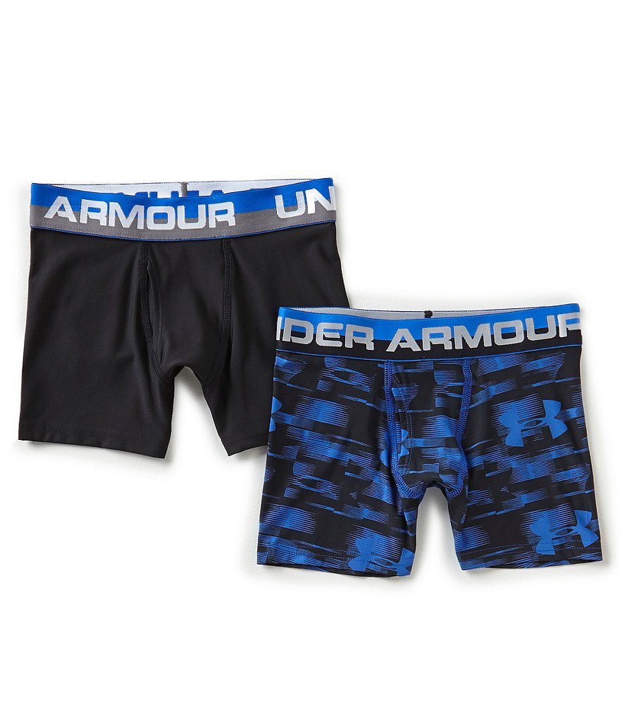 Under Armour Big Boys 8-20 2-Pack Blur/Solid Boxer Briefs