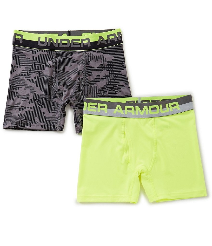 Under Armour Big Boys 8-20 2-Pack Camo/Solid Boxer Briefs